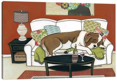 Saint Bernard Couch Hog Canvas Art Print