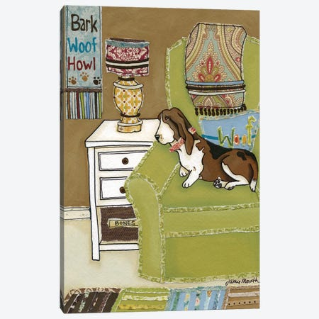 Sweet Basset Canvas Print #MRH91} by Jamie Morath Art Print