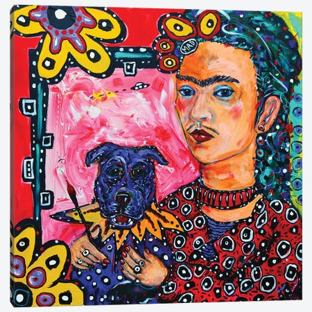 Frida And Her Dog Canvas Print #MRK14} by MADdog Art Gallery Art Print