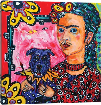 Frida And Her Dog Canvas Art Print