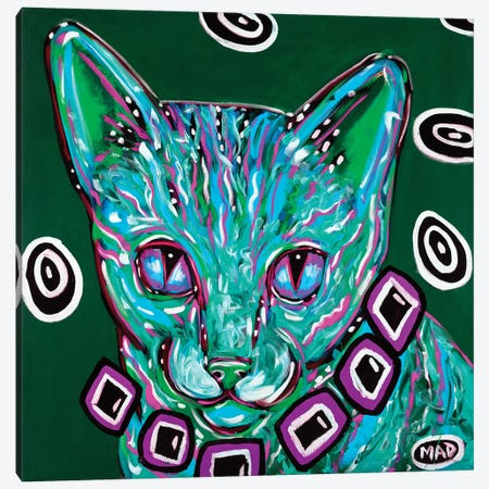 Green Tabby Cat Canvas Print #MRK15} by MADdog Art Gallery Art Print