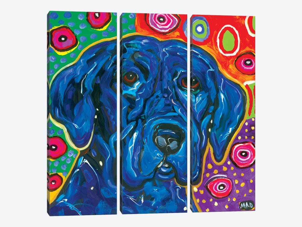 Artopia Blue Lab I by MADdog Art Gallery 3-piece Canvas Artwork