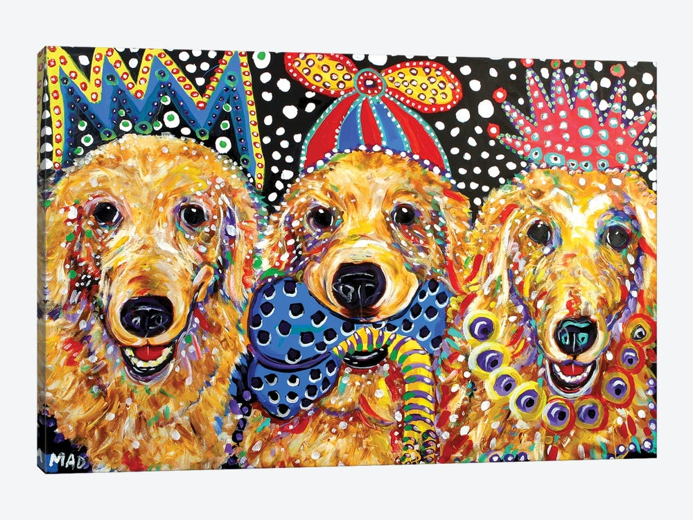 Three Goldens by MADdog Art Gallery 1-piece Canvas Wall Art