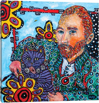 Van Gogh And His Cat Canvas Art Print