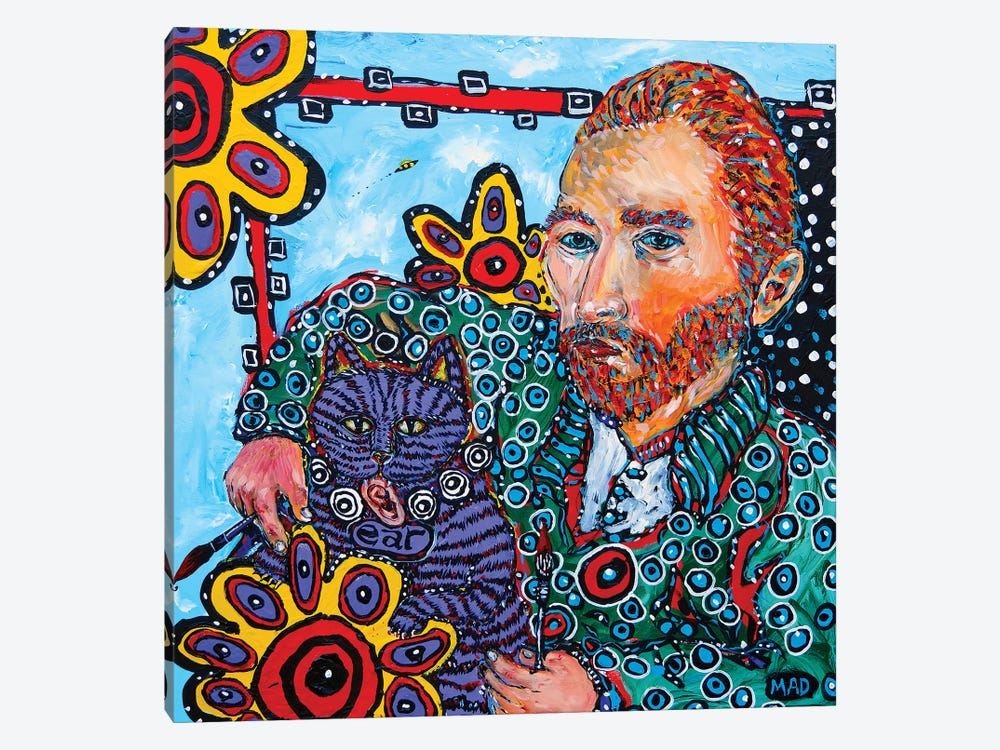 Van Gogh And His Cat by MADdog Art Gallery 1-piece Canvas Art Print
