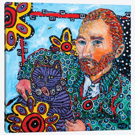 Van Gogh And His Cat 3-Piece Canvas #MRK38} by MADdog Art Gallery Canvas Wall Art