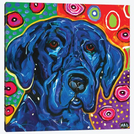 MAD BLUE DOG Canvas Print #MRK50} by MADdog Art Gallery Canvas Wall Art
