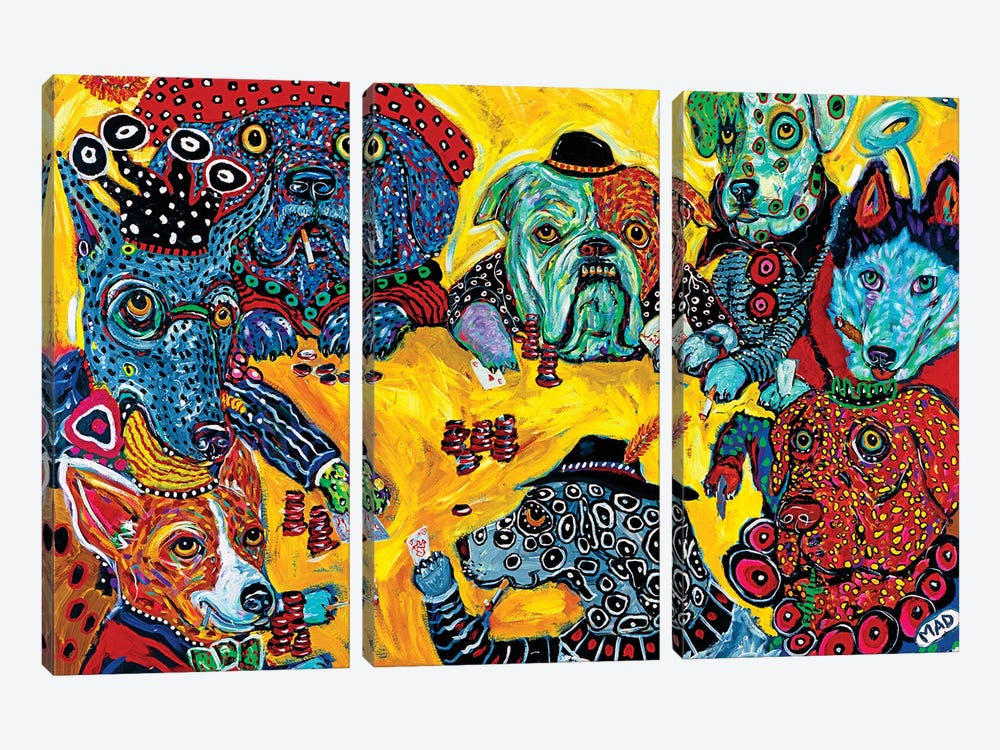 MAD DOG POKER by MADdog Art Gallery 3-piece Canvas Print