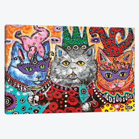 Cat Mardi Gras Canvas Print #MRK8} by MADdog Art Gallery Canvas Art Print