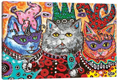 Cat Mardi Gras Canvas Art Print