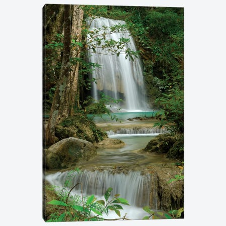 Seven Step Waterfall In Monsoon Forest, Erawan National Park, Thailand Canvas Print #MRN9} by Thomas Marent Canvas Art