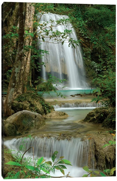 Seven Step Waterfall In Monsoon Forest, Erawan National Park, Thailand Canvas Art Print