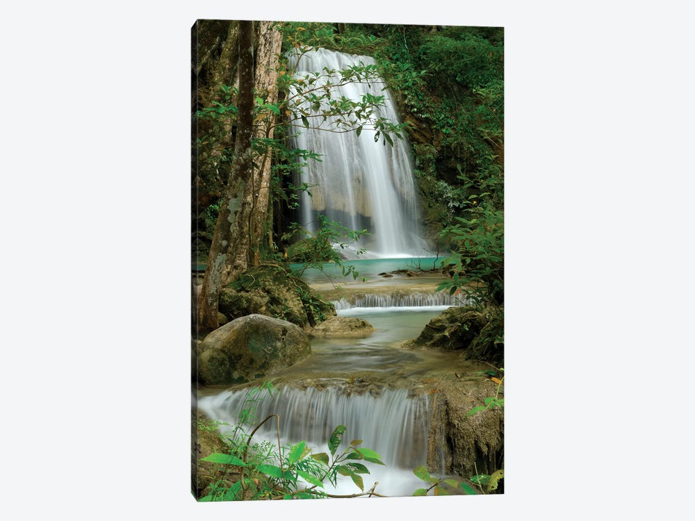 Seven Step Waterfall In Monsoon Forest, Erawan National Park, Thailand by Thomas Marent 1-piece Canvas Print