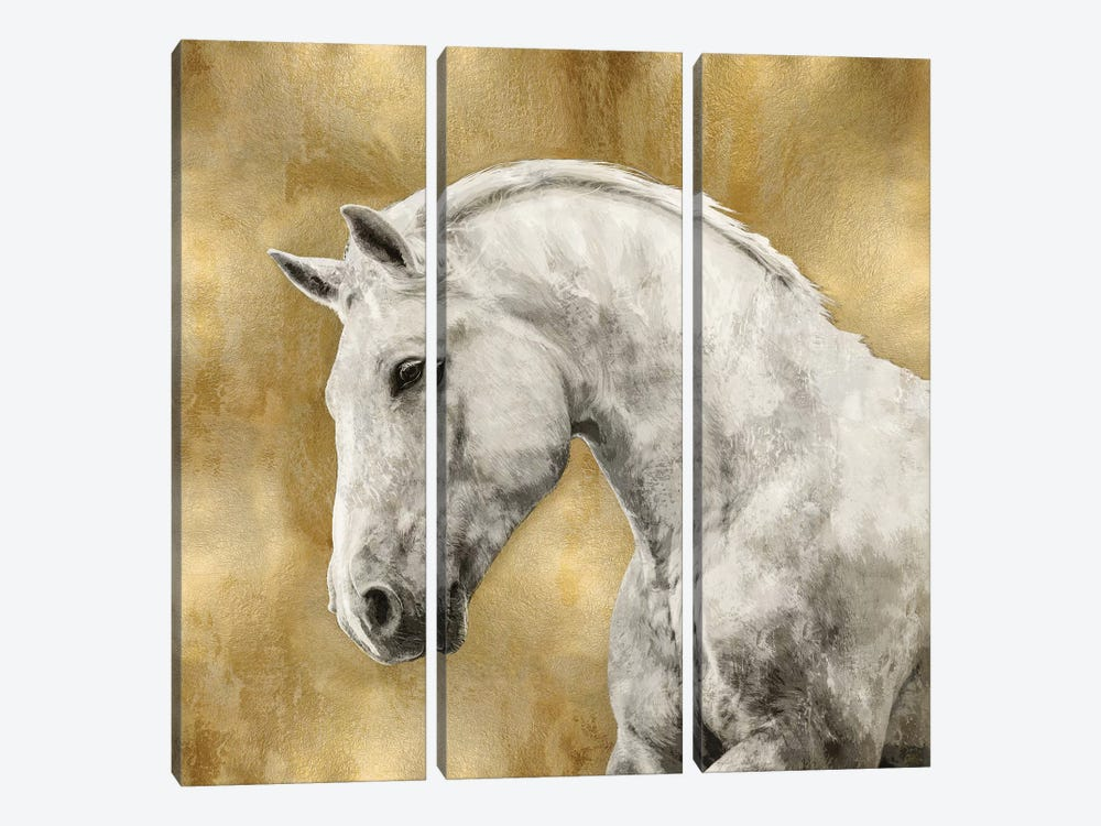 White Stallion On Gold by Martin Rose 3-piece Canvas Art