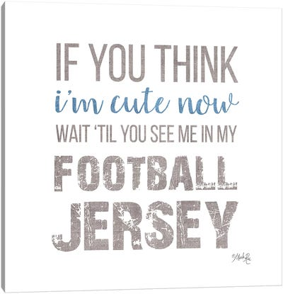 Cute in My Football Jersey Canvas Art Print