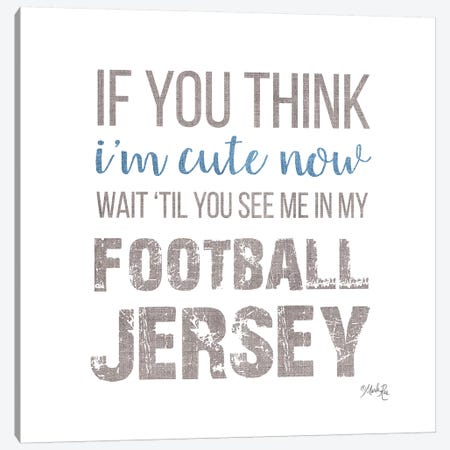 Cute in My Football Jersey Canvas Print #MRR143} by Marla Rae Canvas Artwork