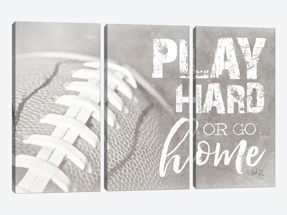 Football - Play Hard by Marla Rae 3-piece Canvas Wall Art