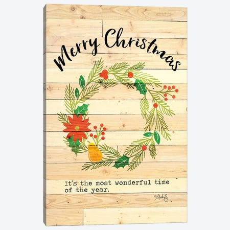 Merry Christmas Wreath Canvas Print #MRR158} by Marla Rae Art Print