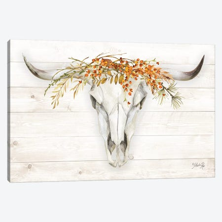 Fall Steer Skull Canvas Print #MRR183} by Marla Rae Canvas Artwork