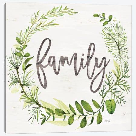Family Greenery Wreath Canvas Print #MRR190} by Marla Rae Canvas Art Print