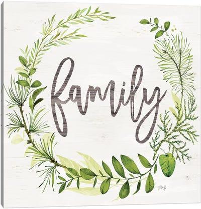Family Greenery Wreath Canvas Art Print