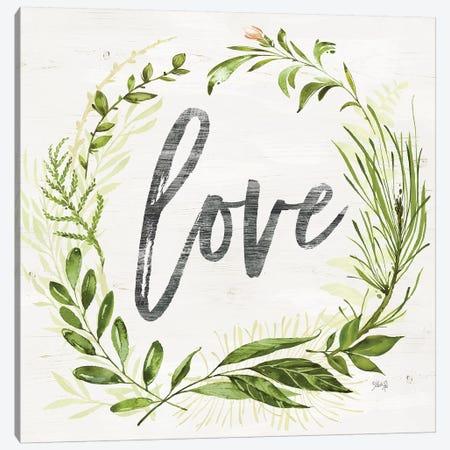 Love Greenery Wreath Canvas Print #MRR192} by Marla Rae Canvas Art Print