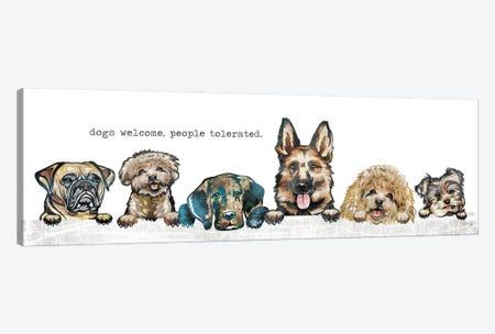Dogs Welcome Canvas Print #MRR225} by Marla Rae Canvas Wall Art