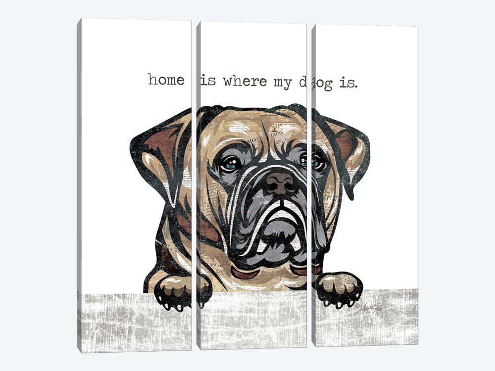 Home is Where My Dog Is by Marla Rae 3-piece Canvas Wall Art