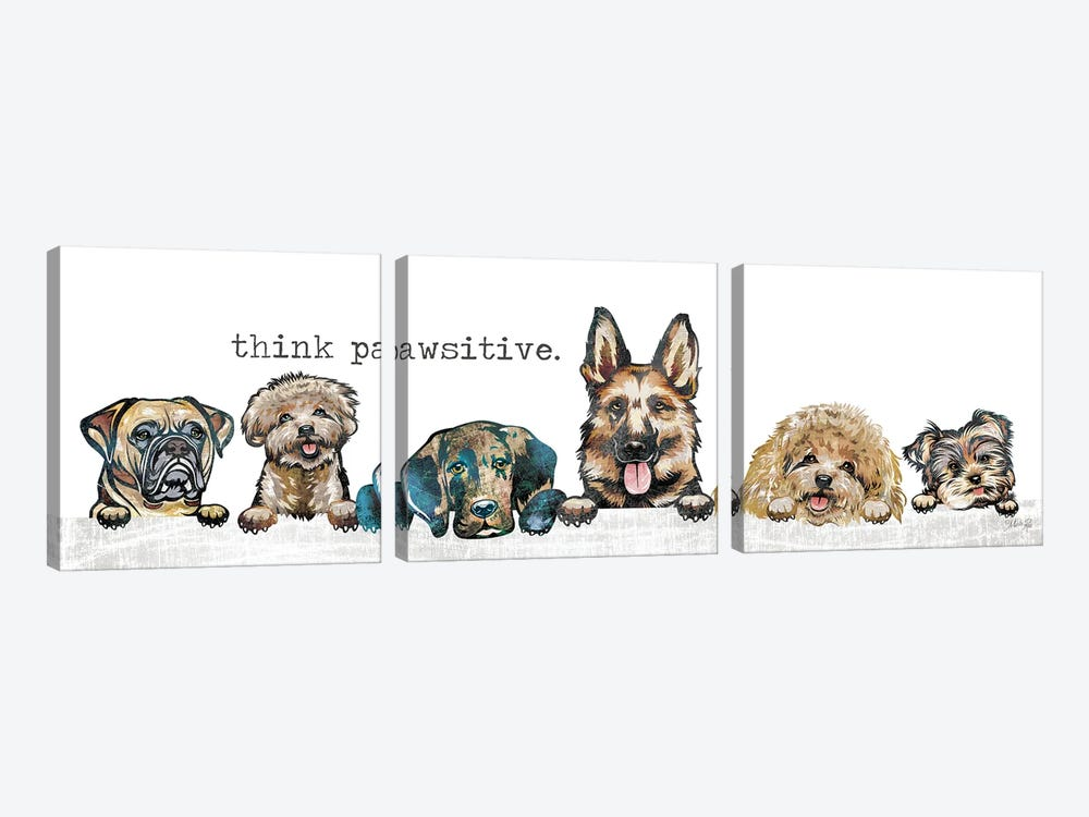 Think Pawsitive by Marla Rae 3-piece Canvas Print
