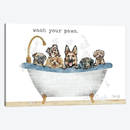 Wash Your Paws Canvas Print #MRR238} by Marla Rae Canvas Wall Art