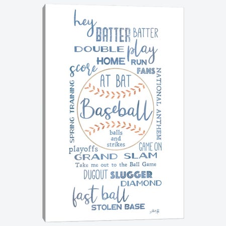 Baseball Phrases Canvas Print #MRR240} by Marla Rae Art Print