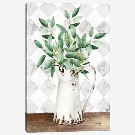 Eucalyptus White Tin Pitcher Canvas Print #MRR241} by Marla Rae Canvas Art Print