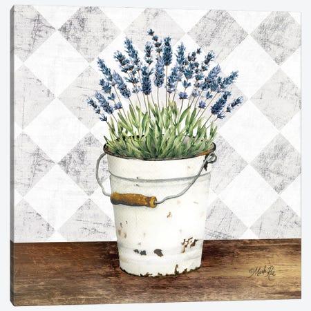 Purple Flowers Metal Bucket Canvas Print #MRR246} by Marla Rae Canvas Artwork