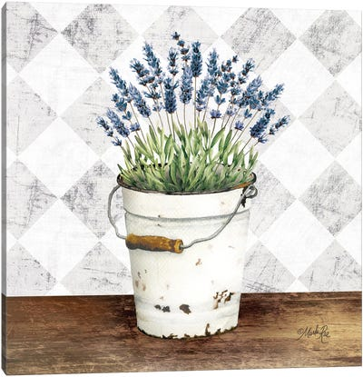 Purple Flowers Metal Bucket Canvas Art Print