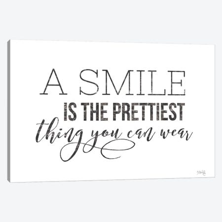 A Smile is the Prettiest Thing You Can Wear Canvas Print #MRR80} by Marla Rae Canvas Wall Art