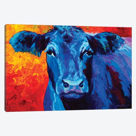 Blue Cow 3-Piece Canvas #MRS23} by Marion Rose Canvas Print