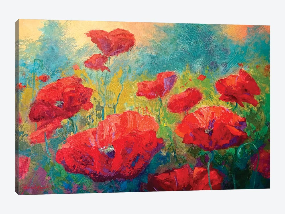 Field Of Poppies I by Marion Rose 1-piece Canvas Art Print