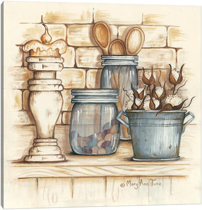 Jars and Wooden Spoons Canvas Art Print