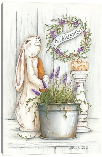 Welcome Bunny Canvas Art Print