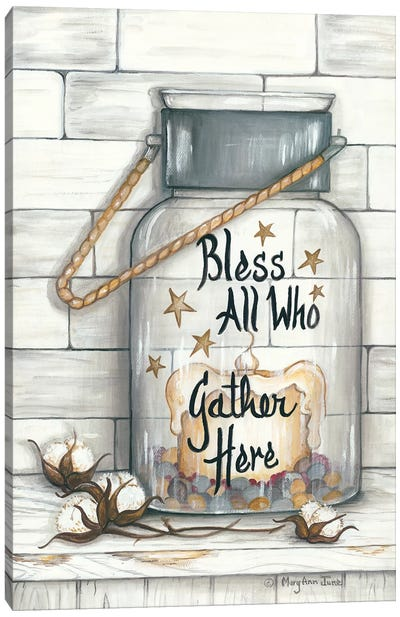 Glass Luminary Bless All Who Gather Canvas Art Print