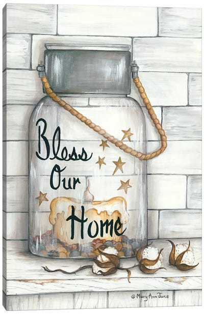 Glass Luminary Bless Our Home Canvas Art Print