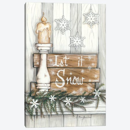 Let It Snow Snowflakes Canvas Print #MRY8} by Mary Anne June Canvas Wall Art