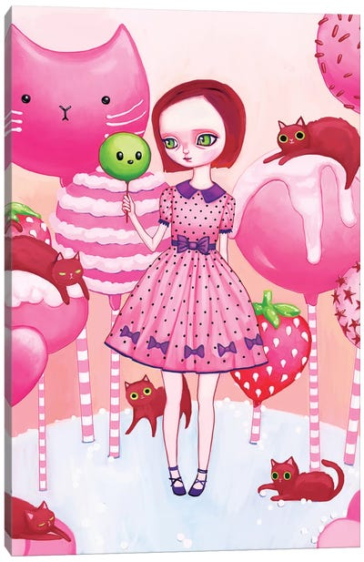 In The Land Of Cake Pops And Cats Canvas Art Print