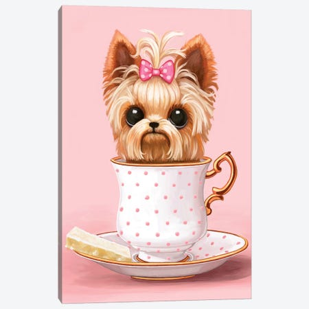 Yorkie In A Teacup Canvas Print #MSC20} by Melanie Schultz Canvas Art