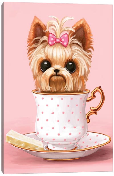 Yorkie In A Teacup by Melanie Schultz Canvas Art