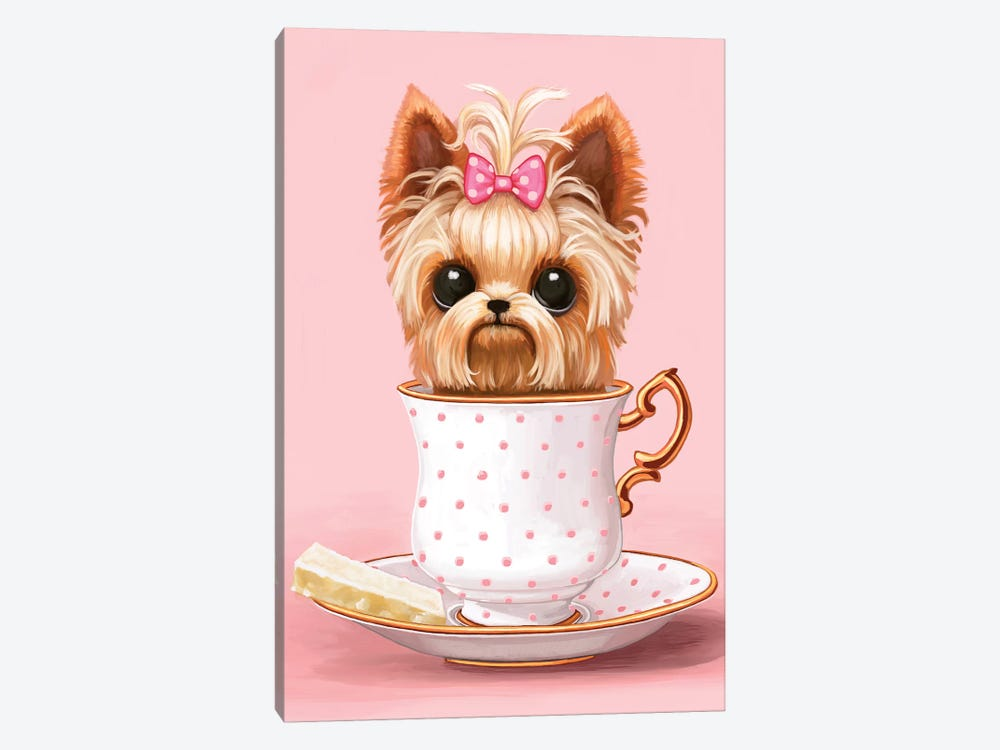 Yorkie In A Teacup 1-piece Canvas Print