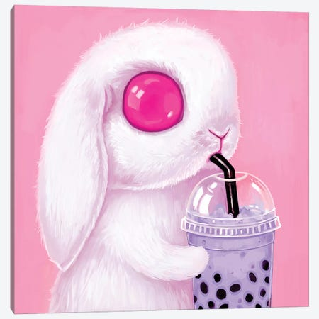 Bubble Tea Bunny Canvas Print #MSC24} by Melanie Schultz Canvas Print