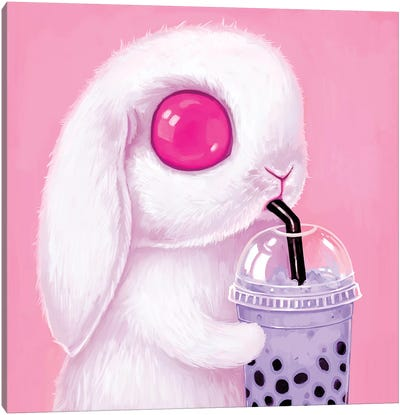 Bubble Tea Bunny Canvas Art Print