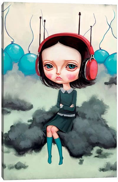 Girl Pouting On A Cloud Canvas Art Print