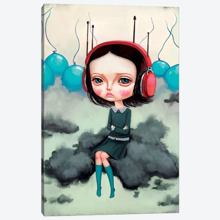 Girl Pouting On A Cloud Canvas Print #MSC8} by Melanie Schultz Canvas Artwork